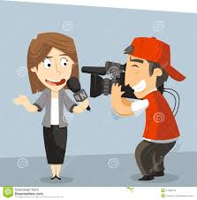 Journalist News Reporter Interview With And Interviewee Vector Illustration Cartoon
