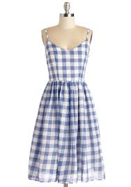 check date dress blue white checkered gingham print casual