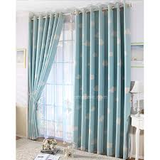 Blue Color Clouds Nursery Black Out Curtains