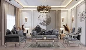 casa padrino luxus barock wohnzimmer set grau blau silber bronze 2 sofas 2 sessel 1 couchtisch prunkvolle wohnzimmer möbel im barockstil
