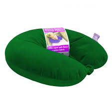 New Microbead Travel Neck Pillow With Fleece Hunter Green