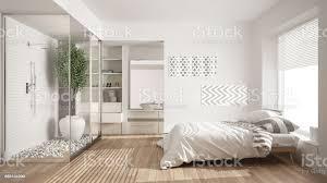 minimalist bedroom and bathroom with shower and walkin closet classic scandinavian interior design stockfoto und mehr bilder 1980 1989