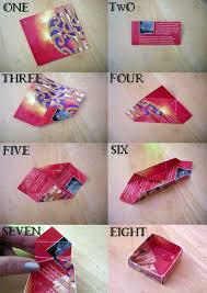 All You Need Is A Piece Of Decorative Card Or Paper Thick Magazine Pages Work Well Cut 4 Inches Square Then Just Follow The Folding Instructions Shown