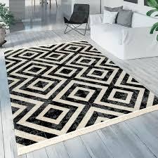 paco home teppich poco 821 rechteckig 7 mm höhe rauten design mit fransen in und outdoor geeignet wohnzimmer