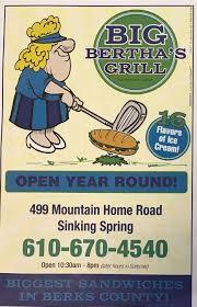 Sinking Springs Pa Restaurants by Big Bertha U0027s Menu