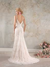 A Full Length Rustic Lace Wedding Dress With Double Spaghetti Straps Sweetheart Neckline