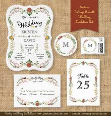 Fall Foliage Garland Wreath Wedding Invitations
