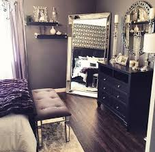 Beautiful Bedroom Decor Black Dresser Silver Mirror Candles And White