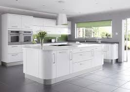 shiny modern kitchen design 2014 with white gloss island to top
