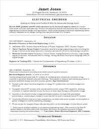 Electrical Power System Engineer Resume Entry Level Sample