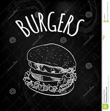 Drawn Burger On Black Chalk Board Background. VECTOR Outline Sketch ...