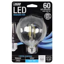 feit g25 60 watt dimmable filament led decorative light bulb