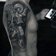Guys Half Sleeve Guardian Angel Tattoo In Black Ink