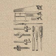 Printable Antique Tools Image Woodworking Clipart Images Illustration Digital Sheet Download Iron On Transfer 300dpi