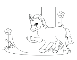 Printable Block Letter Coloring Pages Alphabet Animal Worksheets Unicorn For Kids Free Full Size