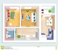draufsicht der modernen grafischen wohnung schlafzimmer