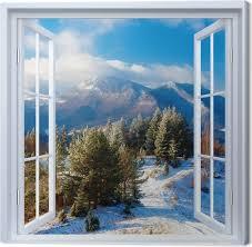 leinwandbild weiß offenes fenster verschneite landschaft