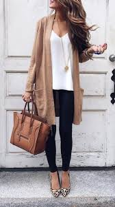Outfits On The Street Fall Outfit Camel Cardigan White Tank Skinny Jeans Leopard Print Flats And Celina Bag Best Of Casual Fashion In