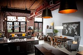 View In Gallery Industrial Kitchen And Living Area Of Loft With Exposed Brick Walls