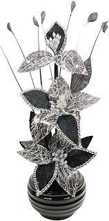 flourish kunstblumen im topf dekoration wohnung modern deko wohnzimmer geschenk 32cm schwarz weiß