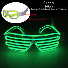sound control el wire led light up shutter glasses costume party
