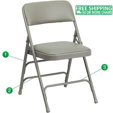 Advantage Grey Padded Folding Chair - Dove Grey 1-in Vinyl Seat  [HA-MC309AV-GY-GG] Gci Outdoor Quikeseat Folding Chair Junior New York Seat Design 550 Each 6pcscarton Offisource Steel Chairs With Padded And Back National Public Seating Grey Plastic Safe Set Of 4 50x80 Cm Camping Fishing Portable Beach Garden Cow Print Wood Brown Color 4pk Chair Terje Black Replacement Vinyl Pad For Resin Wooden Seat Over Isolated White Background Mahogany