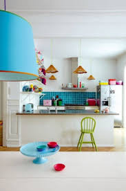 interior colorful home decor ideas for kitchen with blue tiles