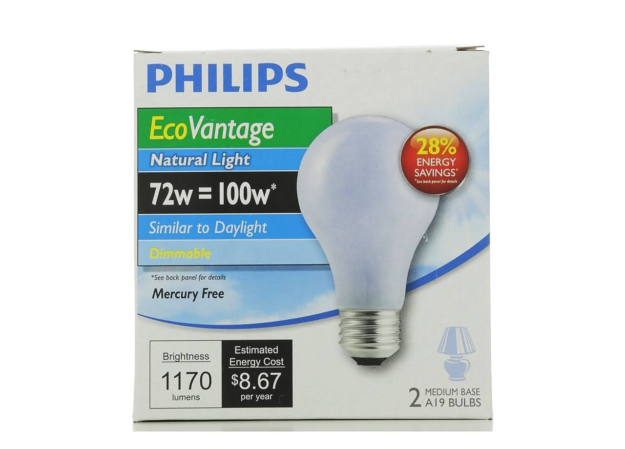 Philips Equivalent Eco Incandescent A19 Natural Light Bulb - 100W