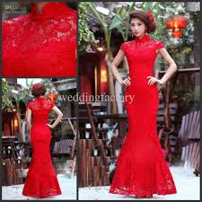 chinese red wedding dresses lace cheongsam party gown illusion