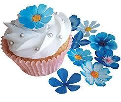 PRE Cut Beautiful Blue Flowers Edible Rice Wafer Paper Cupcake Cake