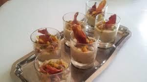 paruline en cuisine verrines à la crème de mogettes aux petits légumes et chips jambon