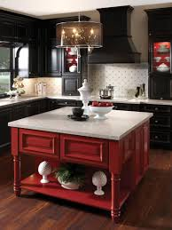 Red Themed Kitchen Black Electric Stove White Framed Bar Stool Barstool Square Green Wood Glass Bowl Sunken Microwave And Oven