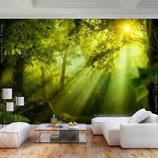 details zu vlies fototapete wald landschaft sonne grün wohnzimmer tapete wandbilder 101