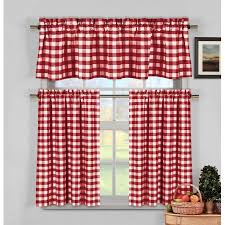 candy apple red gingham checkered plaid kitchen tier curtain