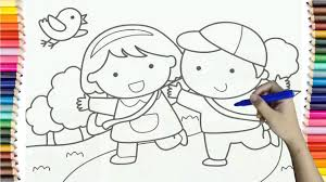 How To Draw Baby Boy And Girl Go School Colorful For Kids