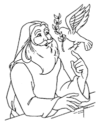 Noah With Dove Coloring Page