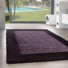 designer hochflor teppich wohnzimmer shaggy langflor bordüre muster violet lila farbe lila grösse 160x230 cm