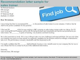 Brilliant Ideas Of Sample Recommendation Letter For Corporate Trainer Sales Re Mendation