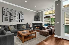 living room with grey walls and white trim nakicphotography