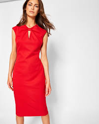 bow neck bodycon dress bright red dresses ted baker