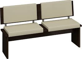 White Fabric Upholstered Dining Bench With Back And Black Wooden Bases