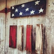 Rustic Flag Door Hanger Patriotic Welcome Sign American Shabby