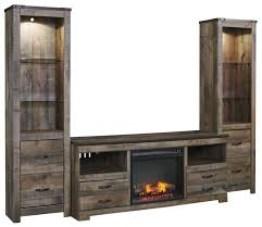 Signature Design By Ashley Trinell Large TV Stand W Fireplace 2 Tall Piers