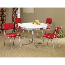 Shop Coaster Company White Chrome Plated Metal Round Retro Dining Table