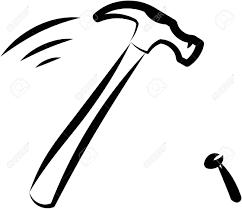 Hammer and nail Vector illustration Stock Vector