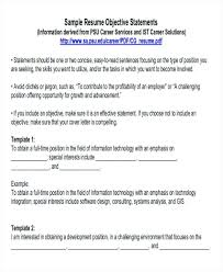 Resume Job Objective Examples Customer Service 7 Of Career Sample Templates Objectives For