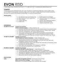 Best Automotive Technician Resume Examples Field Service With Customer Skills