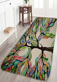 Coral Fleece Colorful Tree Print Bath Rug Decoration HomeHouse