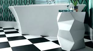 Black And White Linoleum Tile Flooring In A Modern Bathroom Maria