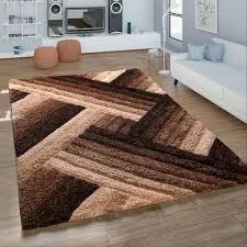 hochflor wohnzimmer teppich shaggy konturenschnitt zickzack muster in creme braun